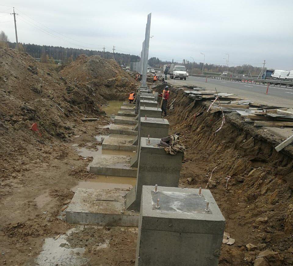 фундаментые блоки под шумозащитный экран стойки 3 4 5 6 метров
